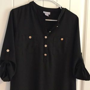 Liz Claiborne Black Dress Gold Buttons